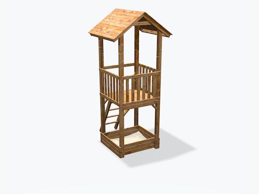 spielturm mit rutsche sandkasten leiter holzdach max. Black Bedroom Furniture Sets. Home Design Ideas
