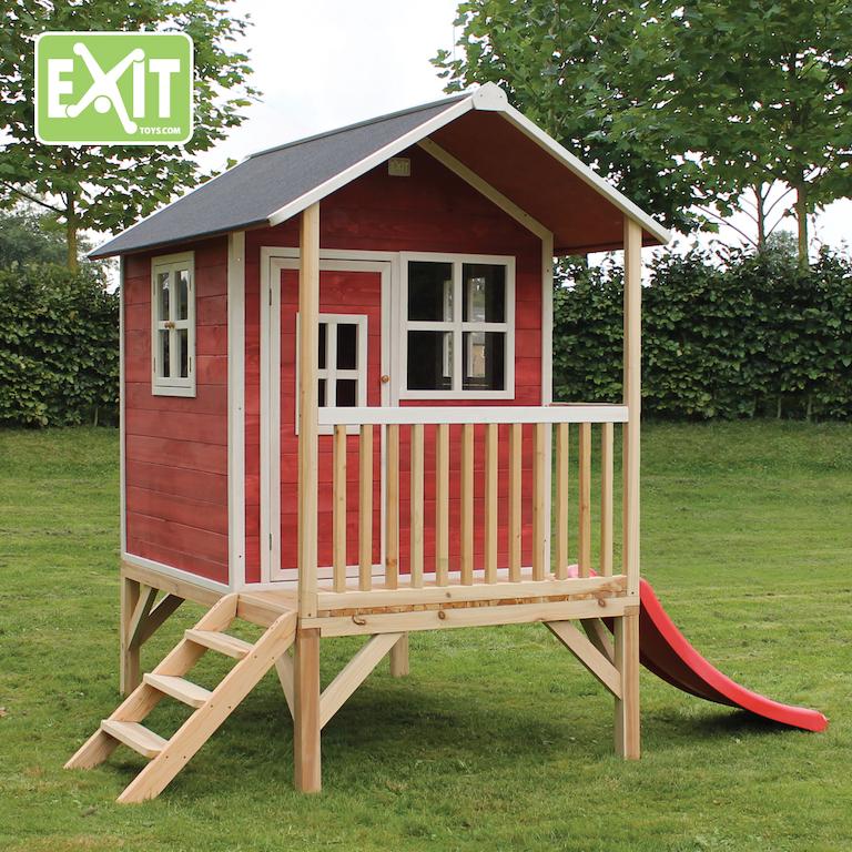 Kinderspielhaus Holz Rutsche ~ Stelzenhaus Loft 300 mit Rutsche, rot  Spielgeräte Discount