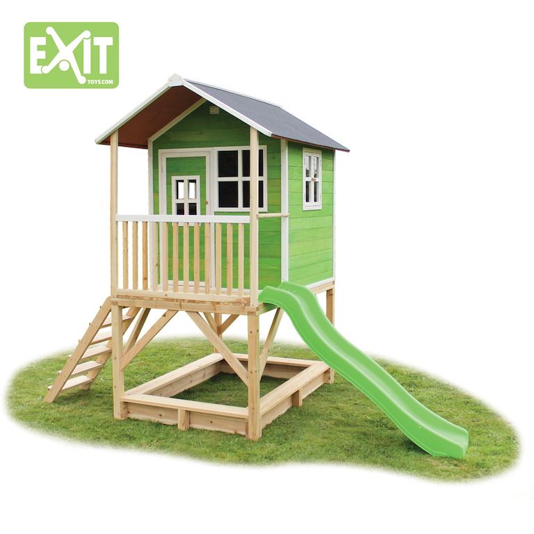 spielger te discount stelzenhaus loft 500 mit rutsche gr n. Black Bedroom Furniture Sets. Home Design Ideas